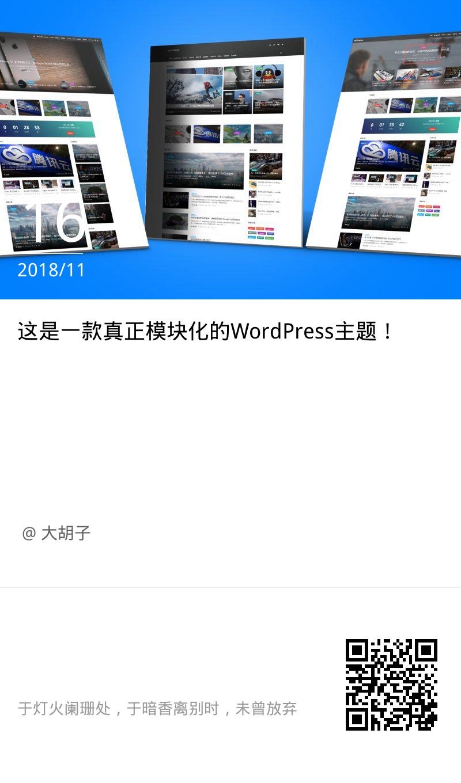 这是一款真正模块化的WordPress主题!