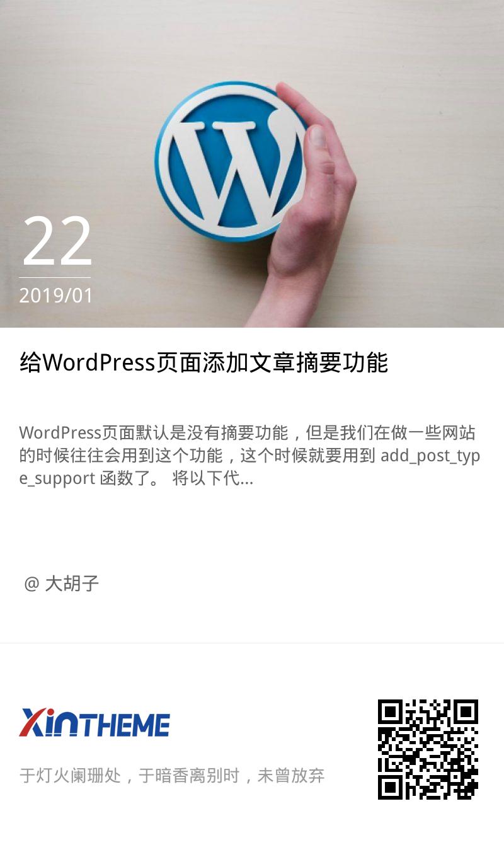 给WordPress页面添加文章摘要功能